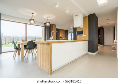 Kitchen interior with spacious dining area