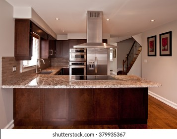 Kitchen interior with stainless steel appliances