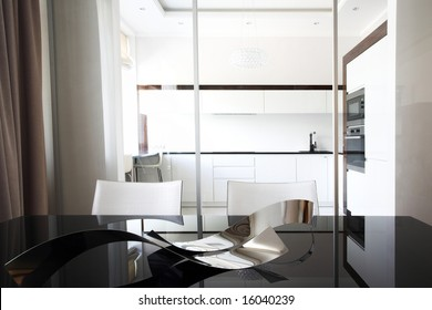 Kitchen interior with table in white