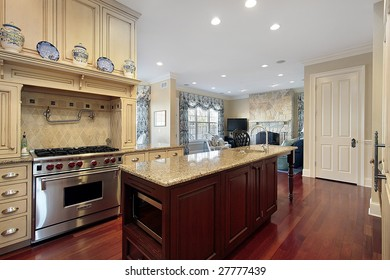 Kitchen and island in modern home