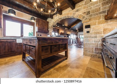 Kitchen island in rustic interior