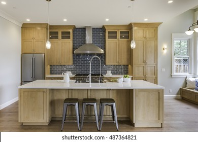 Kitchen Island with Subway Tile and Modern Touches
