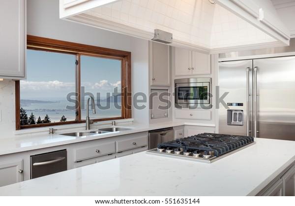 Kitchen Island White Marble Board Gas Interiors Stock Image