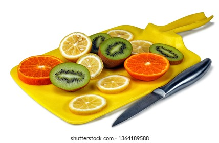 kitchen knife, fresh and sweet juicy lemon kiwi and orange slices on a kitchen cutting board isolated on white background cutout
