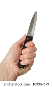 kitchen knife in a hand, it is isolated on the white