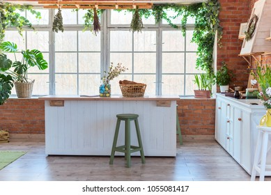 kitchen in loft style, decorated for Easter, brick wall, interior details