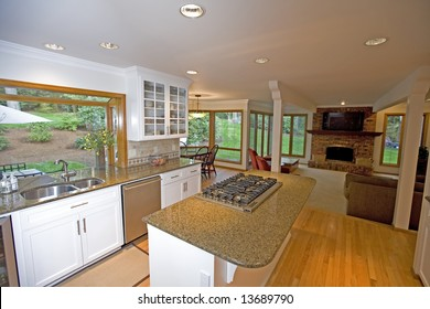 Kitchen in luxury home with view to outdoors