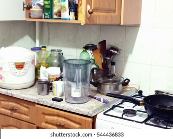 kitchen. mess. dirty dishes