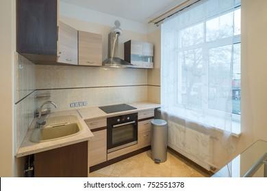 Kitchen in modern flat.