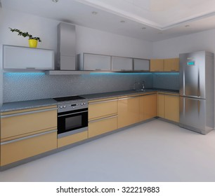 Kitchen modern style interior design, render 3D