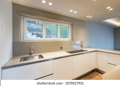 Kitchen with modern white furniture and latest generation appliances. Nobody inside