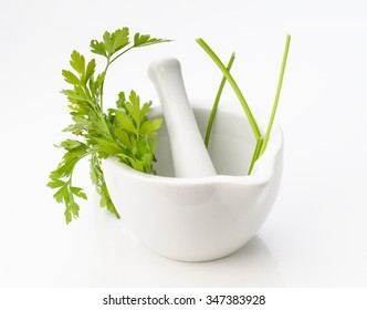 kitchen mortar with parsley