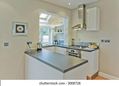 kitchen in newly restored rebuilt house
