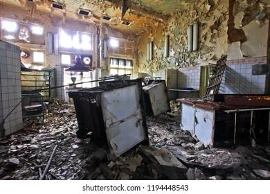 Kitchen on the abandoned cafe