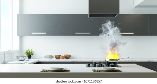 Kitchen on fire 3d rendering