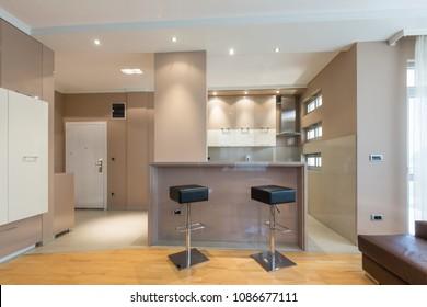 Kitchen in open plan hotel apartment interior
