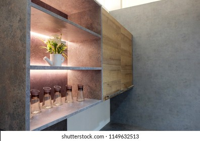 Kitchen open shelves cabinet with LED lighting