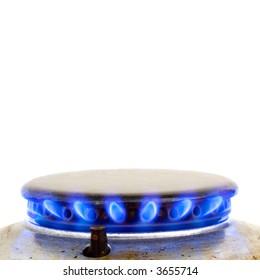 kitchen oven burning gas isolated on white