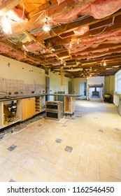 A kitchen is partially removed in a rip out prior to a renovation and refit
