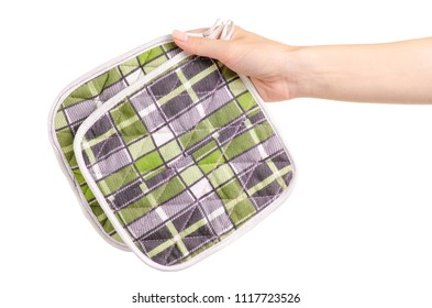 Kitchen potholders in hand on a white background isolation