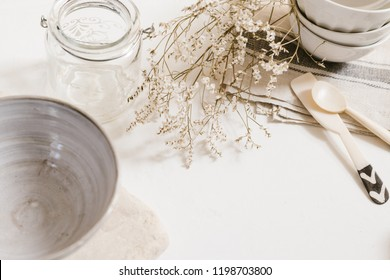 kitchen pottery and accessory with natural tones and materials