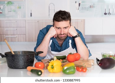 Kitchen problem and worried man don't know what to do