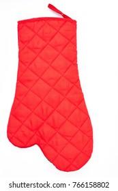 Kitchen protective glove on white background. Red heat protective mitten isolated on white background. Red oven glove mitt.