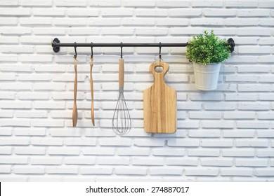 kitchen rack on white wall