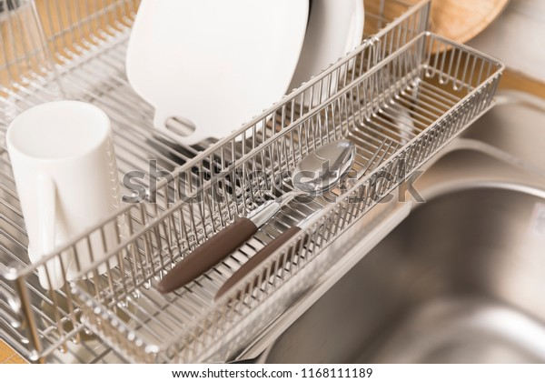 Kitchen Rack Kitchen Table Top Fork Stock Photo Edit Now 1168111189