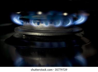 Kitchen range burning gas