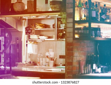 The kitchen in the restaurant bar is photographed close-up