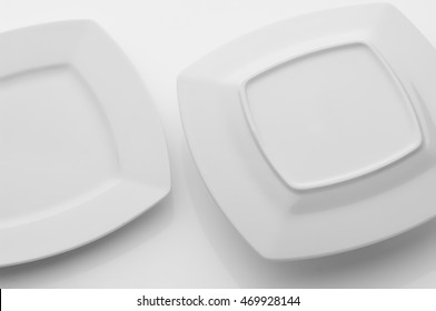 kitchen and restaurant utensils, plates, on a light background