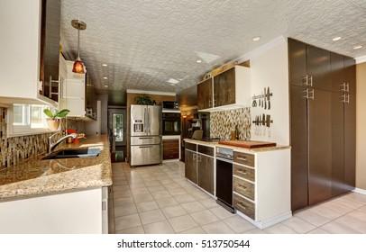 Kitchen room in brown tones with storage combination, stainless steel fridge and backsplash. Northwest, USA
