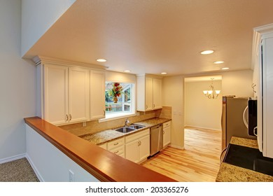 Kitchen room interior. View from living room.