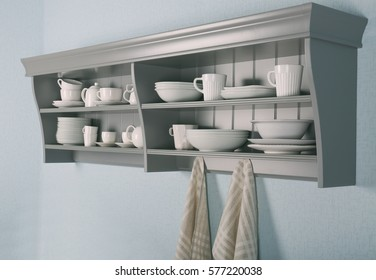 Kitchen shelves with white rustic dinnerware