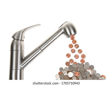 Kitchen sink faucet isolated on white, leaking pennies, which cumulatively add up to nickels and dimes and quarters below. Concept, cumulative cost of a leaking faucet.
