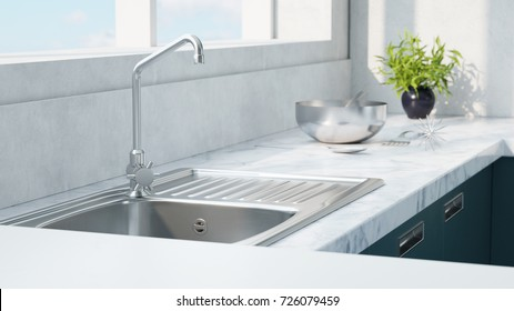 Kitchen sink with herbs 3d rendering