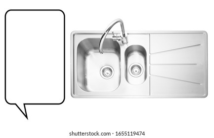 Kitchen Sink Isolated on White. Built-In Kitchen and Domestic Appliances. Countertop Inset Washbowl. Integrated Stainless Steel Double Bowl Inset Sink with Tap. Kitchen Sink Top View with Faucet