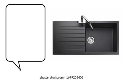 Kitchen Sink Isolated on White Background. Black Integrated Single Bowl Inset Sink with Faucet. Kitchen Sink Top View. Countertop Inset Washbowl. Built-In Kitchen and Domestic Appliances