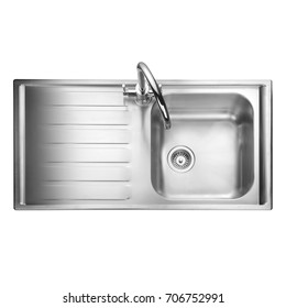 Kitchen Sink Isolated on White Background. Stainless Steel Single Bowl Inset Sink. Kitchen Sink Top View. Built-In Appliances. Kitchen Appliance. Domestic Appliances