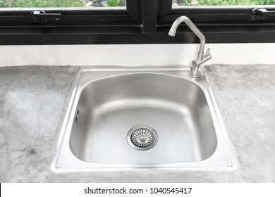 Kitchen Sink Stainless Steel and faucet.Kitchen Sink Top View.Sink with Tap