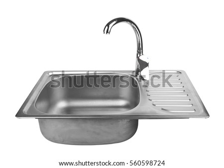 Kitchen Sink Tap Isolated On White Stock Photo (Edit Now) 560598724 ...