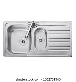 Kitchen Sink Top View with Faucet Isolated on White Background. Stainless Steel Inset Washbowl. Double Bowl Sinker. Built-In Kitchen and Domestic Appliances