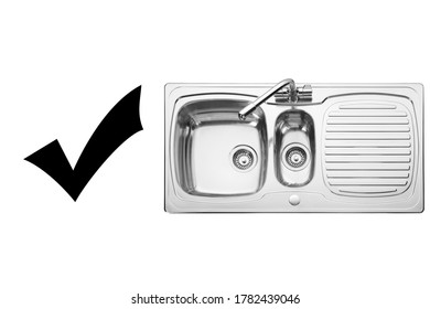 Kitchen Sink Top View with Faucet Isolated on White Background. Double Bowl Sinker. Stainless Steel Inset Washbowl. Built-In Kitchen and Major Domestic Appliances