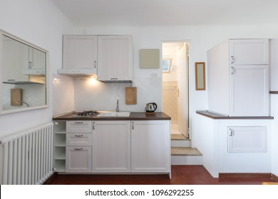 Kitchen of a small intimate and very cozy apartment. Nobody inside