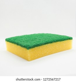 kitchen sponge and white background
