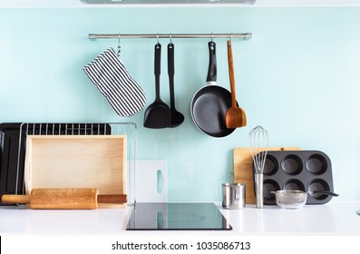 Kitchen Still Life Dishes Table Ware Chopping Board Tray Other Different Stuff on Blue Background Panel