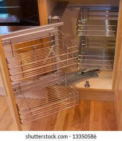 Kitchen storage solution cupboards in showroom
