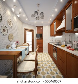 Kitchen in style of Provence, decorated with vintage kitchenware. 3d render