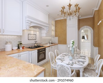 Kitchen in the style of Provence with a dining table in white and orange tones. 3D render.